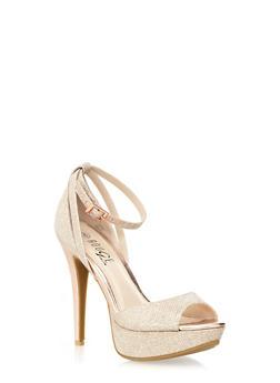 Ankle-Strap Peep Toe Platform Heels with Glitter Trim,ROSE GOLD,medium
