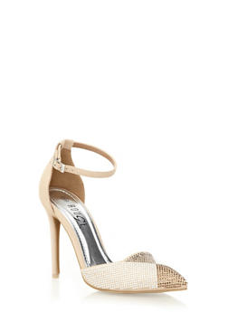 Embellished Ankle-Strap Pointy Toe Heels - 1111004067473