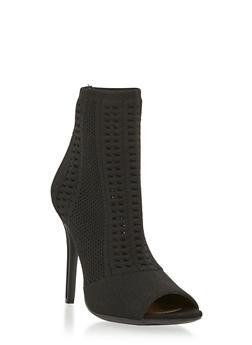 Knit Peep Toe High Heel Booties - BLACK - 1111004067692