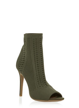 Knit Peep Toe High Heel Booties - OLIVE - 1111004067692