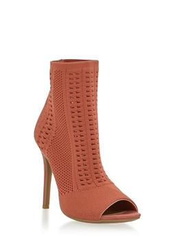 Knit Peep Toe High Heel Booties - MAUVE - 1111004067692