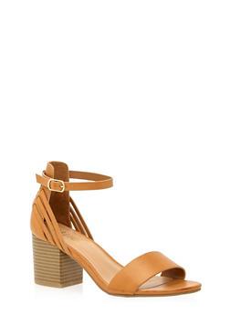 Open Toe Sandals with Block Heels - 1111004067735