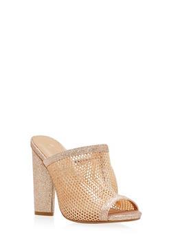 Glitter Mesh High Heel Slide Sandals - 1111004067874