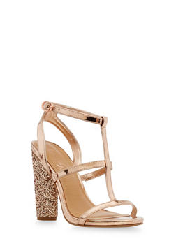 T Strap Glitter High Heel Sandals - ROSE GOLD PATENT - 1111004067875