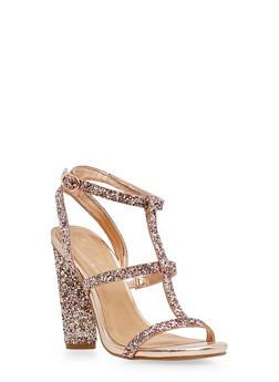 T Strap Glitter High Heel Sandals - BLUSH GLITTER - 1111004067875