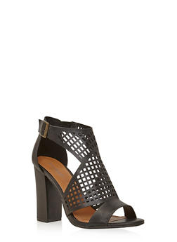 Perforated Laser Cut Chunky High Heels - 1111014063627
