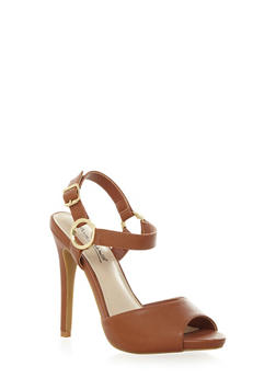 Peep Toe High Heels with Ring Accented Ankle Strap - 1111014066395