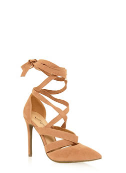 Faux Suede Lace Up High Heel - CAMEL - 1111014067585