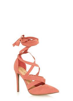Faux Suede Lace Up High Heel - MAUVE - 1111014067585
