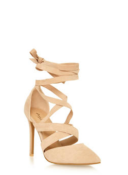 Faux Suede Lace Up High Heel - NUDE - 1111014067585