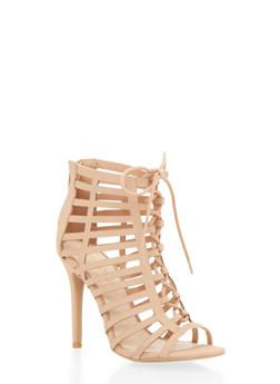 Lace Up Caged Pumps - TAN - 1111014067750