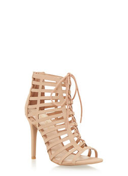 Lace Up Caged Pumps - 1111014067750