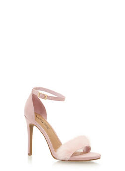 High Heel Sandals with Fur Toe Strap - PINK F/S - 1111014068784