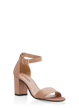 Mid Heel Ankle Strap Sandals - ROSE GOLD GLITTER - 1111056635823
