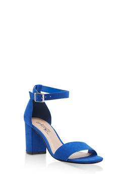 Mid Heel Ankle Strap Sandals - RYL BLUE F/S - 1111056635823