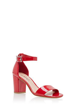 Mid Heel Ankle Strap Sandals - RED PATENT - 1111056635823