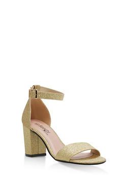 Mid Heel Ankle Strap Sandals - GOLD GLITTER - 1111056635823