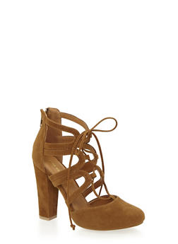 Lace Up Sandals with Covered Heels - 1111062860936