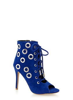 Ankle Boots with Oversized Grommet Accents - 1111062862663