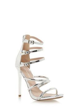 Strappy Three Buckle Sandals with Stiletto Heels - 1111062863666