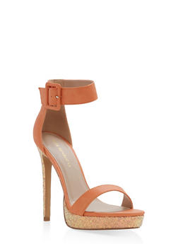 Buckled Ankle Strap High Heel Sandals - 1111062865256