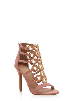 Cage Sandals with Oversize Grommet Accents - 1111062865326