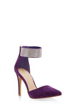 Rhinestone Ankle Strap Pointed Toe Pumps - PURPLE - 1111062866455