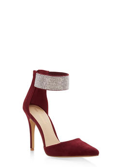 Rhinestone Ankle Strap Pointed Toe Pumps - BURGUNDY - 1111062866455