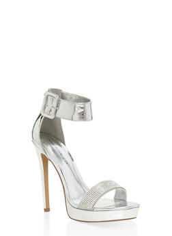 Rhinestone Detail High Heel Sandals - SILVER - 1111062867673