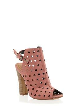 Perforated Peep Toe Slingback Heels - 1111062867877