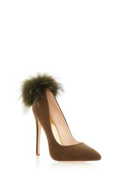 Velvet Pointy Toe Pumps with Fur Pom Pom - OLIVE - 1111065462666