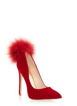 Velvet Pointy Toe Pumps with Fur Pom Pom - MAROON - 1111065462666