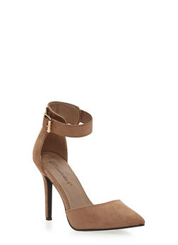 Sandals with Pointed Toes and Chunky Ankle Straps - 1111065484722