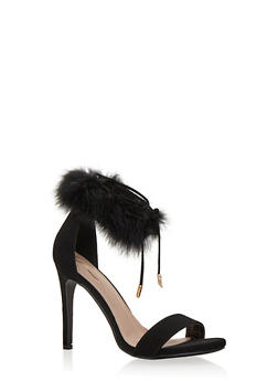 High Heel Sandals with Fur Ankle Strap - BLACK F/S - 1111068265698