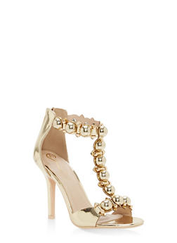 Studded T Strap High Heel Sandals - 1111068266324