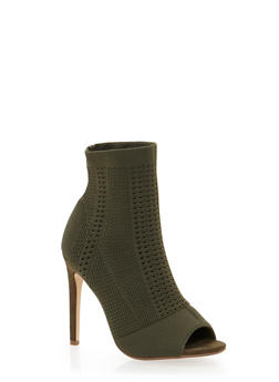 Knit Peep Toe Ankle Booties with Stiletto Heel - 1111070963566