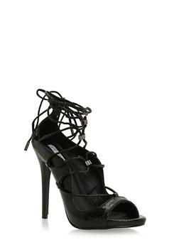 Lace Up Peep Toe Stiletto Heels - 1111070965347