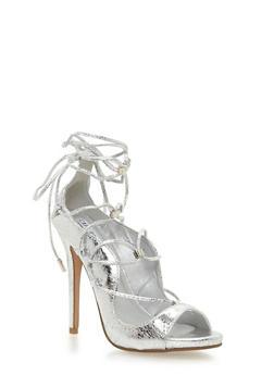Lace Up Peep Toe Stiletto Heels - SILVER - 1111070965347