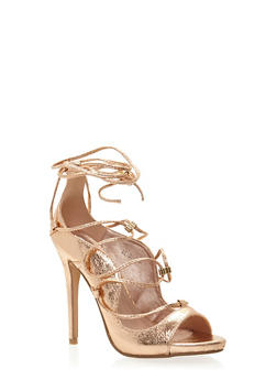 Lace Up Peep Toe Stiletto Heels - 1111070965347