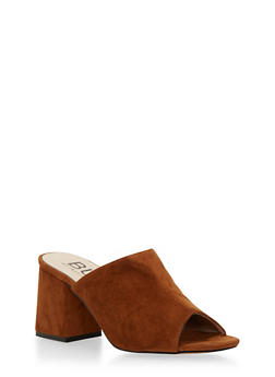 Block Heel Mules with Peep Toe - 1111073541742