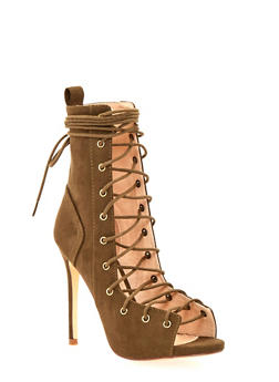 Lace Up High Heel Sandals with Peep Toe - 1111073655456