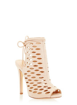 Cutout Peep Toe Sandals with Lace Up Back - 1111073656655