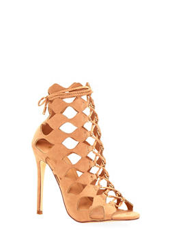 Caged Lace Up Booties with High Heel - 1111073657867