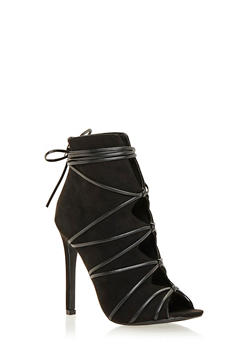 Lace Up Ankle Boots with Peep Toe and Cutout Design - 1111073658262