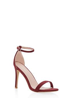 High Heel Ankle Strap Sandal - WINE - 1111074453567