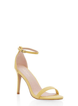 High Heel Ankle Strap Sandal - YELLOW - 1111074453567