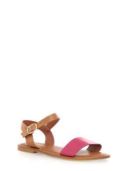 Open Toe Ankle-Strap Flat Sandals - 1112004062294