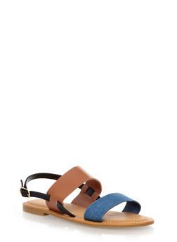 Flat Slingback Double Strap Sandal,BLUE DENIM,medium