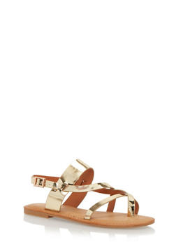 Slingback Sandals with Asymmetrical Straps - 1112004062308