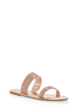 Double Band Rhinestone Slide Sandals - ROSE GOLD MWP - 1112004062532